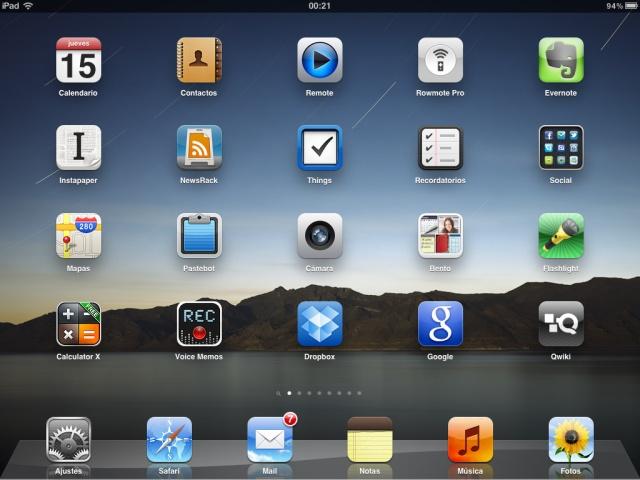 Primera pantalla del iPad